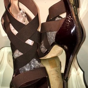 Sergio Rossi Brown Patent and Elastic Zipper Heels